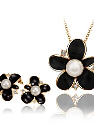 Fashion Flower Shape Alloy Rose Gold Plated Czech Drill Foreign Trade Jewelry Sets(3 color)(1Set)