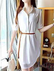 Women's Casual Inelastic Short Sleeve Above Knee Dress (Chiffon)
