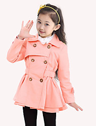 Girl's Cotton/Polyester Fashion Double-Breasted Long Sleeve Trench Coat