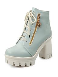 Calçados Femininos Courino Salto Agulha Arrendondado/Botas da Moda Botas Escritório & Trabalho/Social Preto/Azul/Rosa/Branco