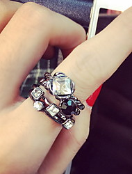 Ring Fashion Party Jewelry Gemstone & Crystal / Alloy Women Midi Rings 1set,One Size Silver