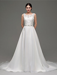 A-line Wedding Dress Court Train Scoop Organza with
