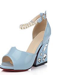 Calçados Femininos Courino Salto Grosso Peep Toe/Plataforma Sandálias Social/Festas & Noite Azul/Rosa