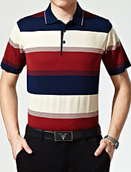 Men's Short Sleeve Polo , Rayon/Wool Blend Casual/Work Striped
