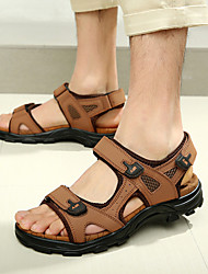 Men's Shoes Casual Leather Sandals Brown/Green