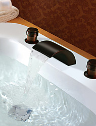 Deck Mount Oil-Rubbed Bronze Finish  Waterfall Basin Faucet