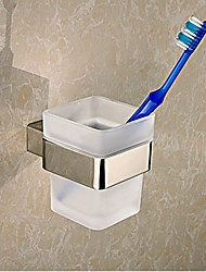 Square Toothbrush Holder Tumble Holder in Stainless Steel with Glass Cup Bathroom Accessories