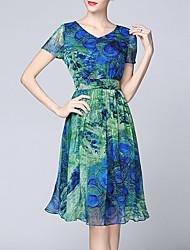 Women's V-Neck Dresses , Silk Party/Work Short Sleeve SASA