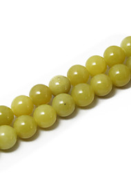 Beadia 39Cm/Str (Approx 39Pcs) Natural Lemon Jade 10mm Round Yellow Stone Loose Beads DIY Accessories