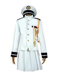 Вдохновлен Kantai Collection Yukio Kasamatsu видео Игра Косплэй костюмы Косплей Костюмы Однотонный Белый Длинные Пальто / Юбки