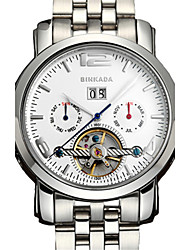 BINKADA Men's Fashion Hollow Out Big Dial Steel Band Automatic Mechanical Wrist Watch(Assorted Colors)