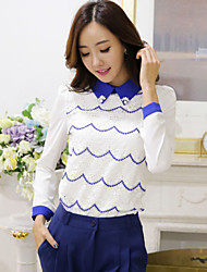Women's Striped/Patchwork Blue Blouse , Shirt Collar Long Sleeve Beaded