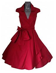 Women's Shirt Collar Dresses , Cotton Blend Casual Sleeveless life