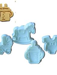 4pcs gâteau souvenirs d'enfance de modèle et de coupeur de biscuit moule avec plongeur