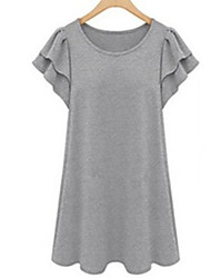 Women's Sexy Casual Cute Plus Sizes Inelastic Short Sleeve Above Knee Dress (Polyester)