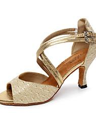Non Customizable Women's Dance Shoes Latin/Salsa Fabric Flared Heel Black/Silver/Gold