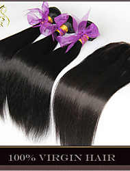 3 Bundles Cambodian Virgin Hair Straight With Closure Unprocessed Human Hair Weave With Free/Middle/3 Part Lace Closures