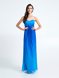 Floor-length Chiffon Bridesmaid Dress - Color Gradient Sheath / Column Sweetheart with Criss Cross