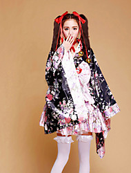 Outfits Maid Suits Wa Lolita Princess Cosplay Lolita Dress Pink Floral Patchwork Long Sleeve Short Length Kimono Coat Skirt Bow Earring
