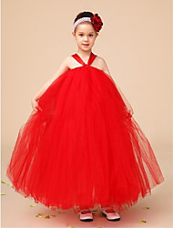 Flower Girl Dress Floor-length Tulle Ball Gown Sleeveless Dress(Headpiece Not Include)