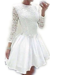 Women's Party/Cocktail / Plus Size Sexy / Cute Lace / Skater Dress,Solid Crew Neck Mini Long Sleeve White Cotton / Polyester SummerMid