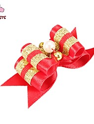 FUN OF PETS® Lovely Two-Tone Golden Ribbon Style  Bead Decorated Rubber Band Hair Bow for Pet Dogs