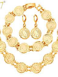 U7® Women's Vintage European Queen Jewelry Coins Drop Earrings Fashion 18K Gold Plated Charm Bracelets Necklaces Sets