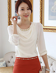 Women's Elegant Beaded Round Long Sleeveless OL Chiffon T-shirt