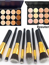 8PCS Golden Black Handle Cosmetic Makeup Brush Set&15 Colors Natural Concealer(2 Color Concealer Choose)