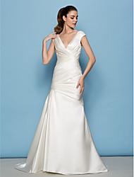 mariée Lanting Lanting a-ligne de robe de mariée - ivoire balayage / train brosse v-cou satin