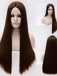 European And American High-Quality High-Temperature Brown Silk Long Straight Hair wig Fashion Girl Necessary