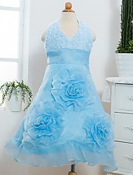 Princess Tea-length Flower Girl Dress - Satin / Tulle Sleeveless Halter with