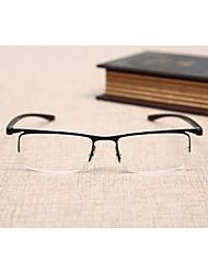 [Lentes Gratis] Hombre 's Rectángulo Media Montura Gafas de Leer
