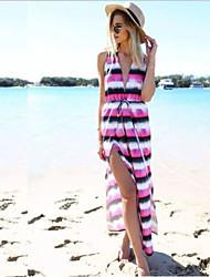Women's Polyester Stripes Deep V Sexy Long Beach Maxi Dress