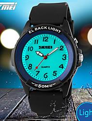 SKMEI® Men's Casual Design Quartz Wrist Watch EL Back Light Black Silicone Strap