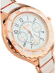 reloj de pulsera de cuarzo de banda de aleación de esfera redonda manera simple de la pareja