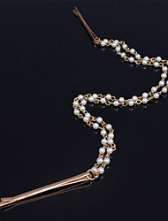 Women Alloy Elegant Pearl Head Chain With Casual/Outdoor Headpiece Gold