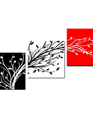 Abstract Lucky Tree Triptych Canvas Wall Art, Stretched Canvas Print Three Panels High Quality Canvas Ready to Hang