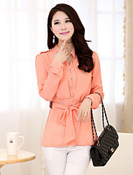 Women's Solid Pink/White/Black/Yellow Blouse , Shirt Collar Long Sleeve