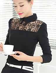 Women's Solid Blue/White/Black/Yellow Blouse , Shirt Collar Long Sleeve Mesh