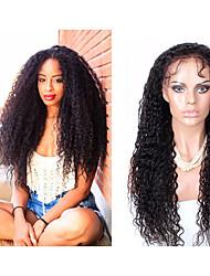 """10 """"-30"""" sin cola rizada rizada peluca llena del cordón, de encaje completo pelucas de cabello humano Mogolian para las mujeres negras,"""