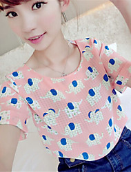 Women's Print Blue/Pink/Green Blouse , Round Neck Short Sleeve