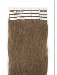 18 Inch Long Color 12 Light Brown Tape in Premium Remy Human Hair Extensions Straight Women Beauty Salon Style Design