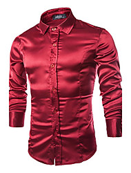Men's Long Sleeve Shirt , Silk Casual/Plus Sizes Pure
