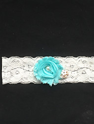 Garter Lace Flower/Imitation Pearl Ivory
