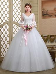 Ball Gown Wedding Dress - White Floor-length V-neck Lace/Tulle