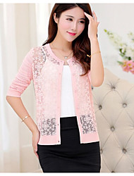 Women's Casual Long Sleeve Cardigan , Lace/Polyester Thick