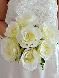 7 Heads Ivory Green Pink and Peach Silk Rose Bouquet