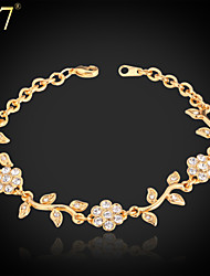 U7® Women's Cute Leaf Flower Bracelet Platinum/18K Real Gold Plated Rhinestone Charm Bracelet Bangle