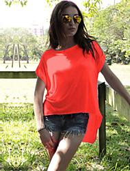 여성의 라운드 넥 짧은 소매 티셔츠 면
